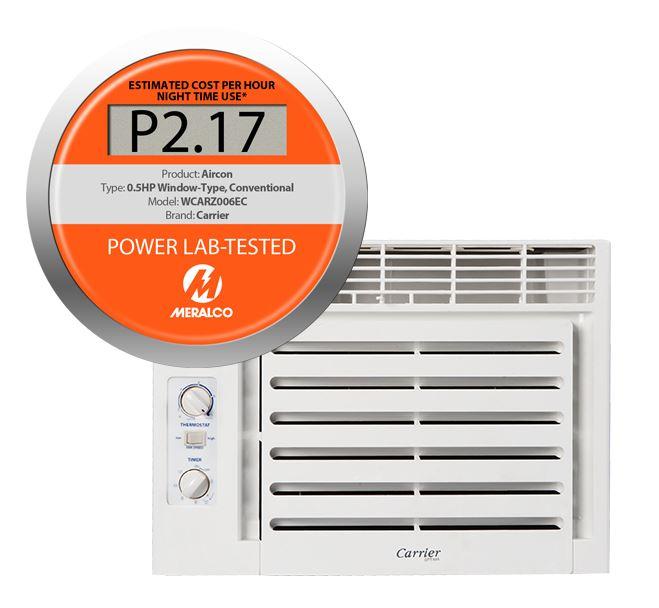 Orange tag meralco for 1 ton window ac power consumption per hour